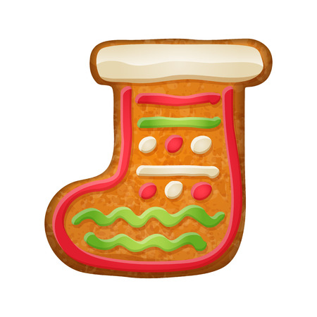 holiday symbol: Decorated gift sock. Gingerbread cookie. Holiday symbol.  Sweet bakery.