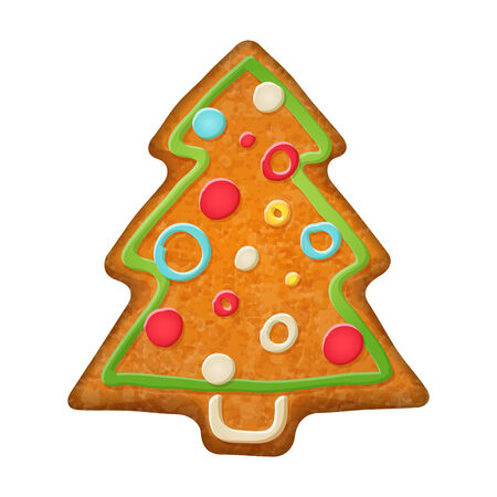spice cake: Decorated christmas tree. Gingerbread cookie. Holiday symbol.  Sweet bakery.
