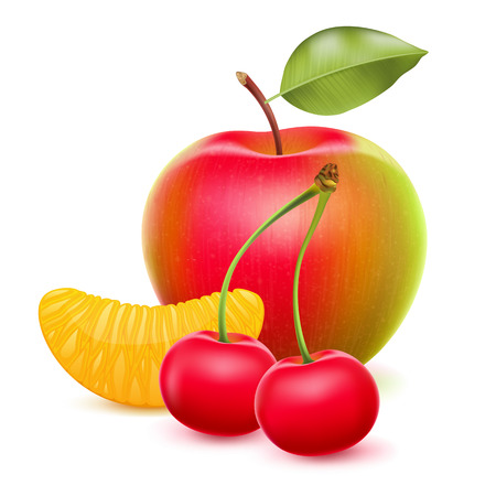 apple slice: Fruits set - apple, tangerine segment, cherry. Realistic illustration. Illustration