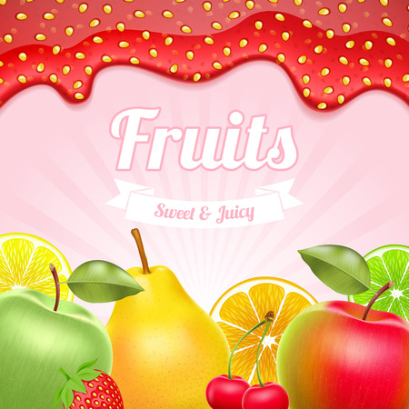 Different fruits collection - apple, cherry, pear and citruses. Strawberry jam border on top. Vector