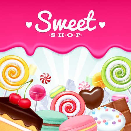 Different sweets colorful background. Lollipops, cake, macarons, chocolate bar, candies and donut on shine background. Vector
