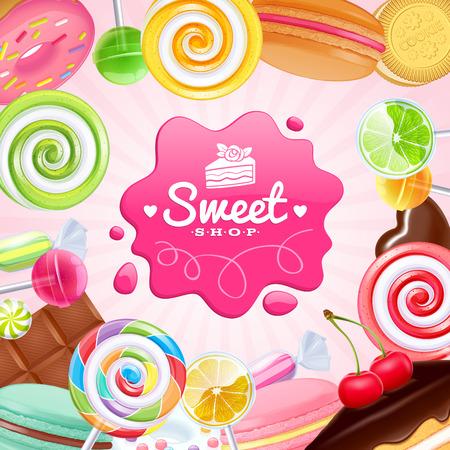 Różne słodycze kolorowe tło. Lizaki, ciasto, macarons, tabliczka czekolady, cukierki i pączek na połysk tle.