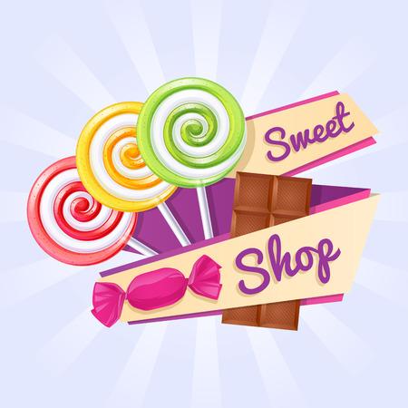 candies: Affiche de magasin de bonbons. Arri�re-plan avec des sucettes, bonbons et barre de chocolat sur ruban.