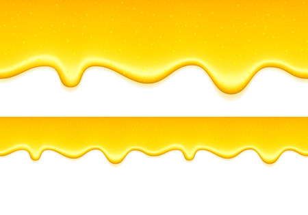 honey liquid: Yellow drips on white back. Lemon jelly or honey drops.