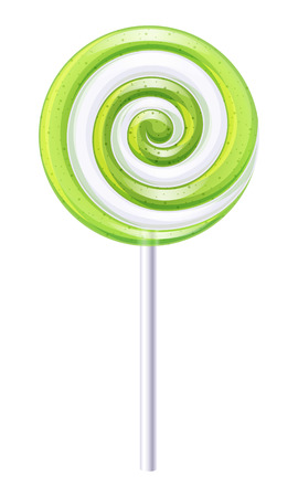 Green and white round spiral candy. Apple or lime lollipop.