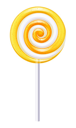 candy stick: Yellow and white round spiral candy. Lemon or orange lollipop.