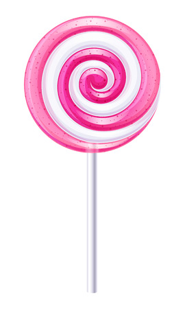 Pink and white round spiral candy. Strawberry lollipop.