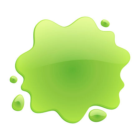 blotch: Green blotch isolated on white background. Paint or juice spot. Illustration