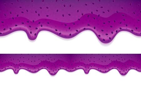 blueberry jam: Drips of blueberry or blackberry jam on white background. Flowing liquid. Seamless horizontal border.
