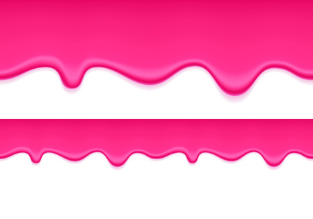 Pink jelly dripping seamless horizontal background. Liquid flow. Illustration