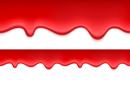 strawberry jelly: Red jelly or blood dripping seamless horizontal background. Liquid flow. Illustration