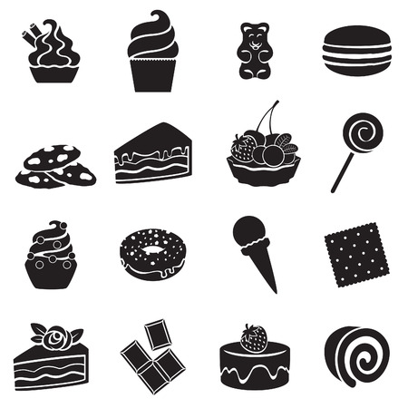 gummy: Different sweets black and white icons set in flat style. Sweet food symbols.