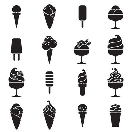coppa di gelato: Gelato icone nere impostate in stile piatto. Simboli cibo dolce. Vettoriali