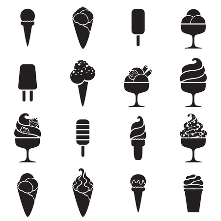 cone: Ice cream black icons set in flat style. Sweet food symbols.