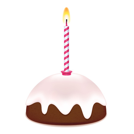 frosting: Small birthday cake with candle. Sweet treat. Chocolate frosting on top.