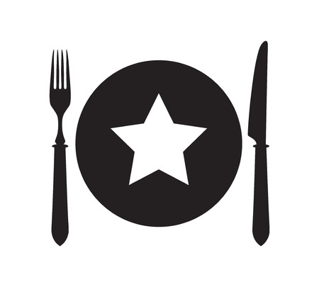 restaurant rating: Plate, fork and knife with star icon. Favourite place symbol.