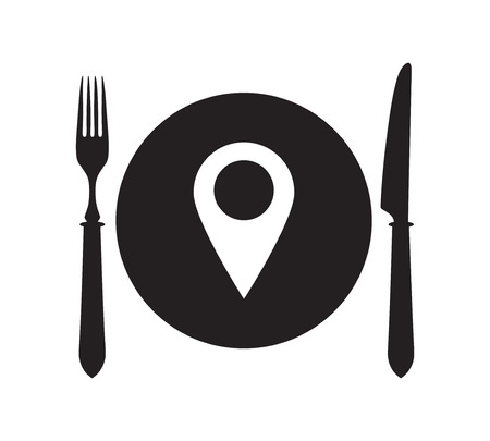 restaurant rating: Plate, fork and knife with map pin icon. Map mark symbol.
