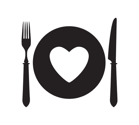 favourite: Plate, fork and knife with heart icon. Favourite place symbol. Illustration