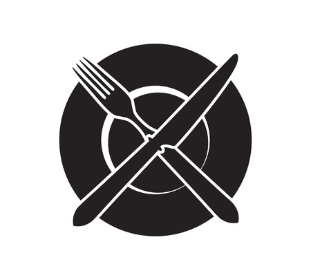 favourite: Plate with crossed fork and knife icon. Favourite place symbol.