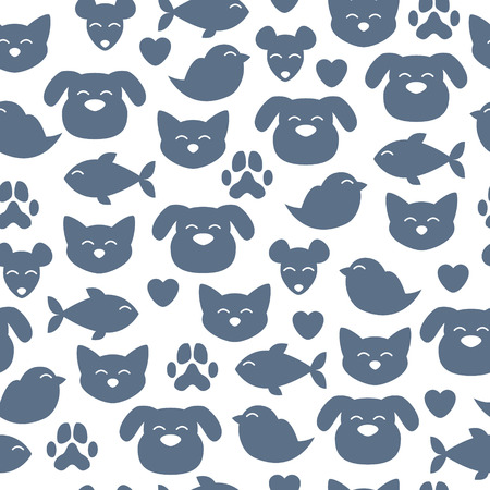 Cheerful domestic animals seamless pattern. Cat, dog, fish, bird and mouse. Pet-shop background.
