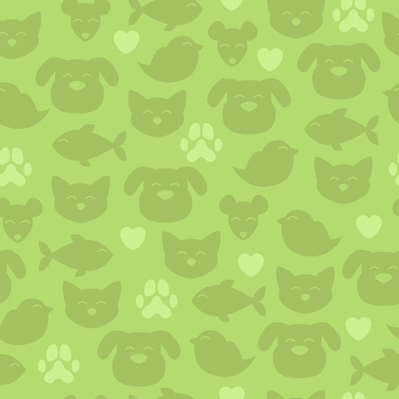 petshop: Cheerful domestic animals seamless pattern. Green color. Cat, dog, fish, bird and mouse. Pet-shop background. Illustration