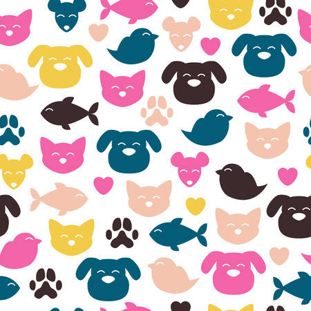 Cheerful domestic animals seamless colorful pattern. Cat, dog, fish, bird and mouse. Pet-shop background. Vector