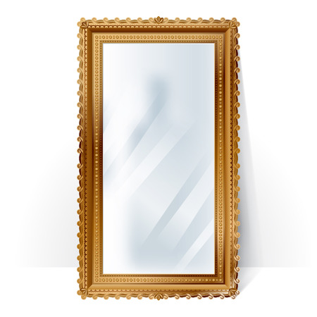 full length mirror: Big mirror in vintage golden frame with blurry reflection, standing near the wall. Illustration