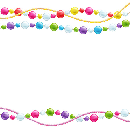 Colorful glass beads decoration background. Mardi gras pattern.