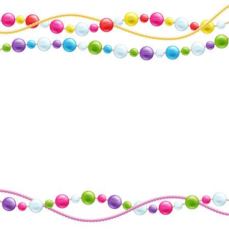 Colorful glass beads decoration background. Mardi gras pattern.