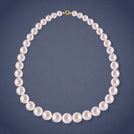 pearl jewelry: Round Pearls Necklace on dark background. Jewelry accessory.