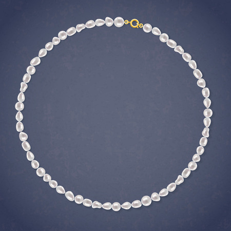 freshwater pearl: Freshwater Pearl Round Necklace on dark background. Jewelry accessory. Illustration