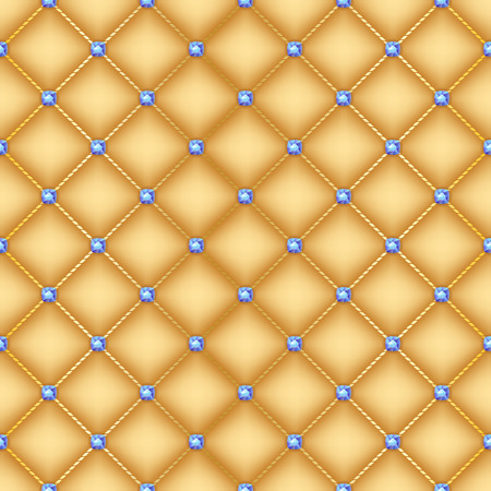 quilted: Seamless glam golden silk quilted background with sapphire pins.