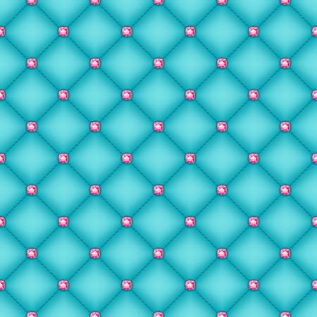 glam: Acolchado fondo sin fisuras seda turquesa del glam con alfileres de diamantes de color rosa. Vectores