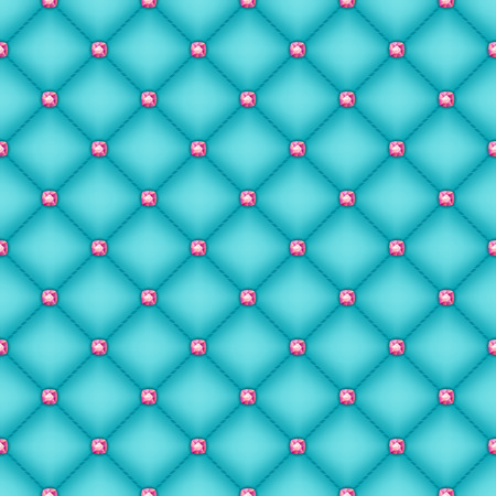 Seamless glam turquoise silk quilted background with pink diamond pins. Illustration