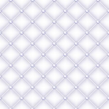 glam: Sin fisuras de fondo acolchado del glam de seda blanca con alfileres de diamantes. Vectores