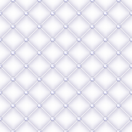 Seamless glam white silk quilted background with diamond pins. Illustration