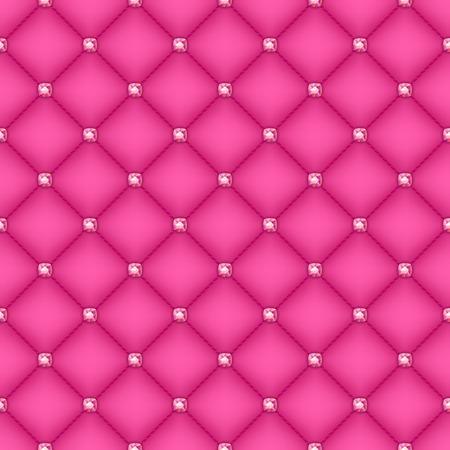 glam: Sin fisuras de fondo acolchado del glam de seda rosa con alfileres de diamantes de color rosa. Vectores