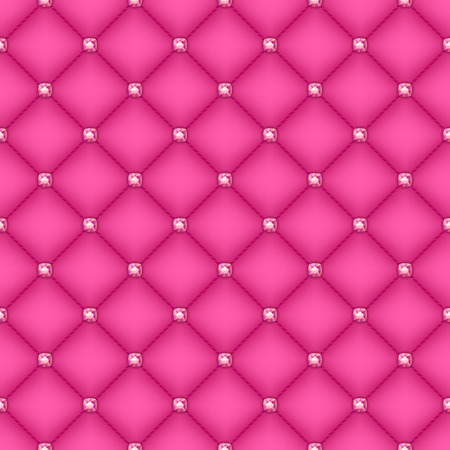 Seamless glam pink silk quilted background with pink diamond pins.