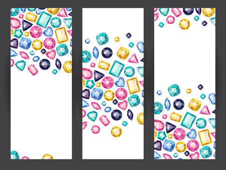 jewelry design: Set of vertical banners with colorful gemstones. Luxury background.