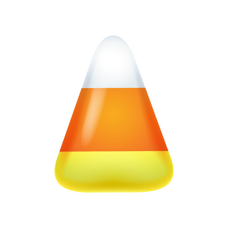 corn: Realistic candy corn isolated on white background. Halloween symbol. Illustration