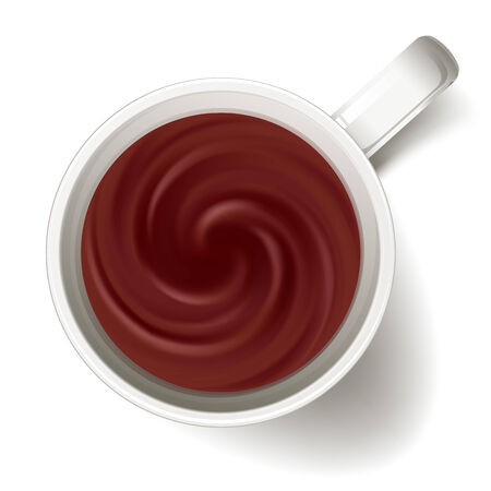Cup of cacao or hot chocolate - above view. Brown swirl. Hot drink.