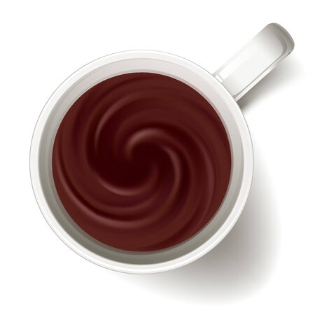 from above: Cup of coffe - above view. Coffee swirl. Hot drink. Illustration