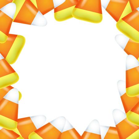 Candy corn frame. Sweet treat background. Halloween design. Illustration