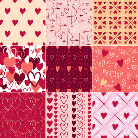 red paper: Vintage hearts and love symbols seamless patterns set. Valentines day backgrounds. Wedding theme.