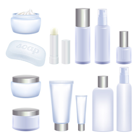 cosmetics products: Blank cosmetic tubes and jars isolated on white background. Face and body care products.