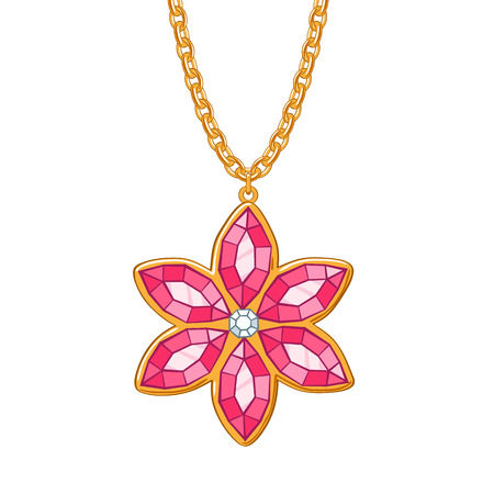 ruby stone: Hand drawn red flower pendant necklace. Rubies and diamond jewelry. Good for t-shirt design.