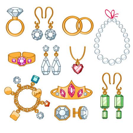 coeur en diamant: Ensemble d'éléments de bijoux. Or et pierres précieuses accessoiriser précieux.