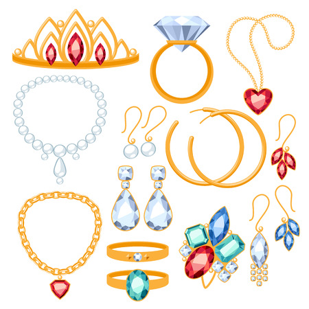 jewelry design: Set of jewelry items. Gold and gemstones precious accessorize.