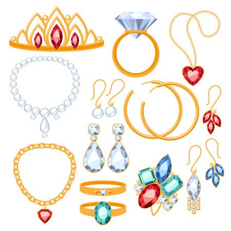 Set van sieraden artikelen. Goud en edelstenen kostbare Accessorize.