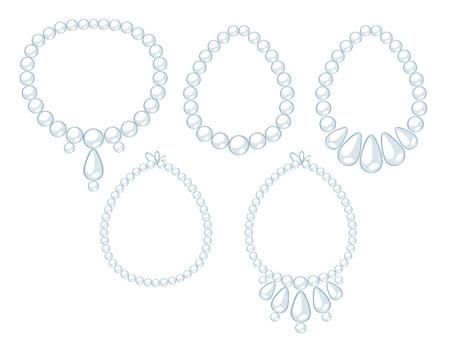 bijouterie: Set of white pearl necklaces. Cartoon style. Illustration